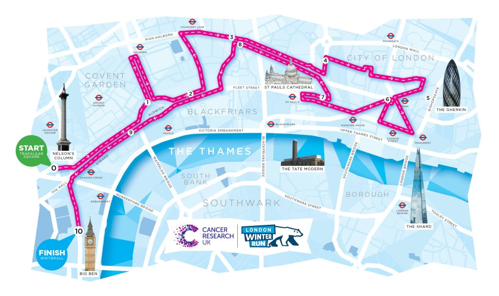 London Winter Run route map